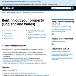 Renting out your property (England and Wales)