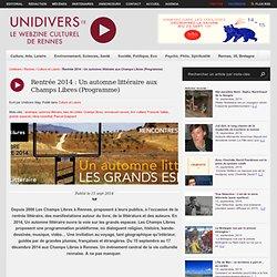 Rentrée 2014 : Un automne littéraire aux Champs Libres (Programme)