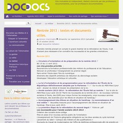 Rentrée 2013 : textes et documents utiles.
