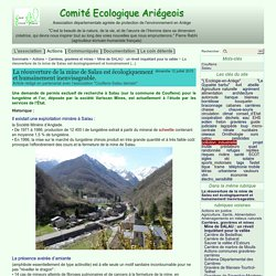 La réouverture de la mine de Salau est écologiquement et humainement (...) - Comité Ecologique Ariégeois