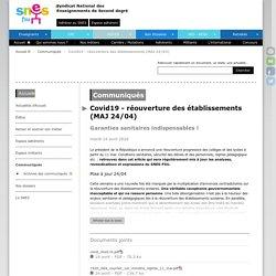Covid19 - réouverture des établissements (MAJ 24/04)