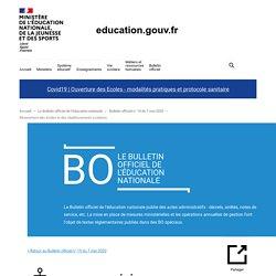 Réouverture des écoles et des établissements scolaires