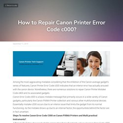 How to Repair Canon Printer Error Code c000?