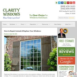 How to Repair Instead of Replace Your Windows