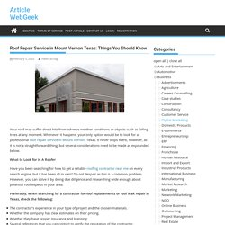 Roof Repair Service in Mount Vernon Texas: Things You Should Know