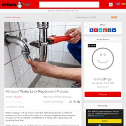 All about Water Leak Repairment Process
