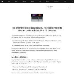 Programme de réparation du rétroéclairage de l'écran du MacBookPro 13pouces– Assistance Apple