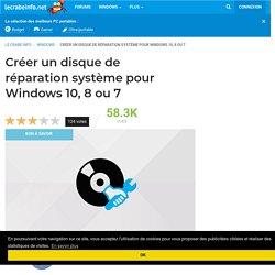 Créer un disque de réparation système pour Windows 10, 8 ou 7 - Le Crabe Info