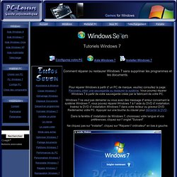 Reparer Windows 7, comment ?
