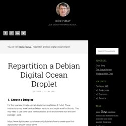 Repartition a Debian Digital Ocean Droplet