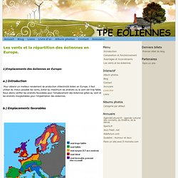 Les vents et la répartition des éoliennes en Europe. - TPE EOLIENNES