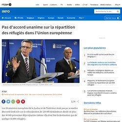 Pas d'accord unanime sur la répartition des réfugiés dans l'Union européenne