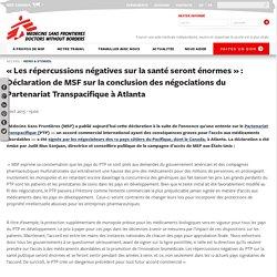 « Les répercussions négatives sur la santé seront énormes » : Déclaration de MSF sur la conclusion des négociations du Partenariat Transpacifique à Atlanta