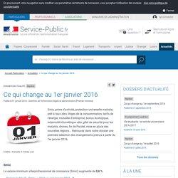 Repères -Ce qui change au 1er janvier 2016