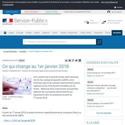 Repères -Ce qui change au 1er janvier 2018