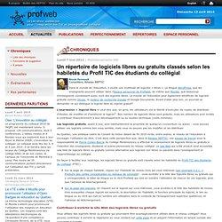 Un répertoire de logiciels libres ou gratuits classés selon les habiletés du Profil TIC des étudiants du collégial