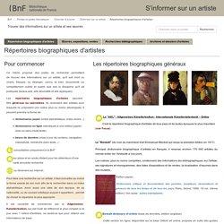 Répertoires biographiques d'artistes - S'informer sur un artiste