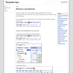 Replace a spreadsheet - Template tips