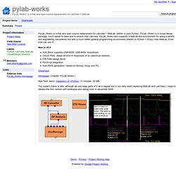 "pylab-works - PyLab Works"" is a free and open source replacement for LabView + MatLab"