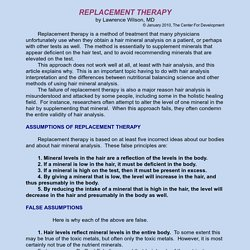 Replacement therapy is a method of treatment that many physicians consider when utilizing hair analysis