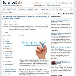 Researchers overturn landmark study on the replicability of psychological science