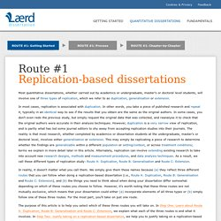 Getting started with replication-based dissertations