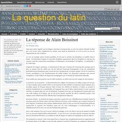 La réponse de Alain Boissinot
