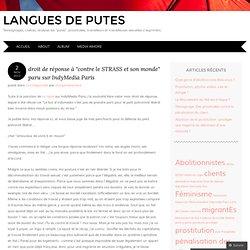droit de réponse à «contre le STRASS et son monde paru sur IndyMedia Paris
