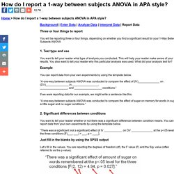 How do I report a 1-way between subjects ANOVA in APA style?