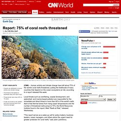 Report: 75% of coral reefs threatened