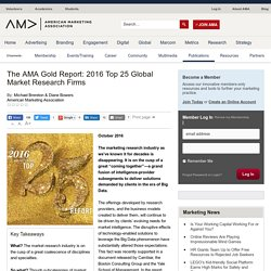 The AMA Gold Report: 2016 Top 25 Global Market Research Firms