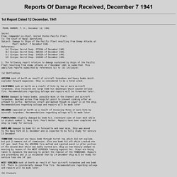 Report Of Damage, December 7 1941