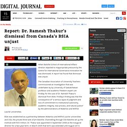 Report: Dr. Ramesh Thakur's dismissal from Canada's BSIA unjust