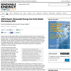ASES Report: Renewable Energy Can Curb Global Warming by 2030