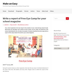 Write a report of Free Eye Camp for school magazine - Sample