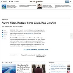 Report: Water Shortages Crimp China Shale Gas Plan