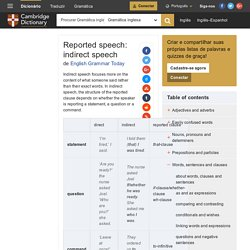 Reported speech: indirect speech - English Grammar Today - Cambridge Dictionary
