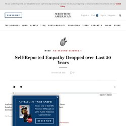 Self-Reported Empathy Dropped over Last 30 Years