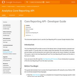 Core Reporting API - Developer Guide