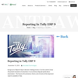 Reporting in Tally ERP 9