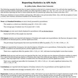 Reporting Statistics in APA Style
