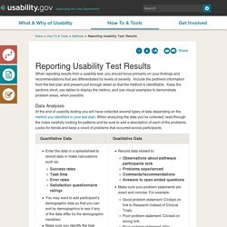 Reporting Usability Test Results