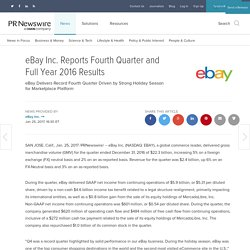 eBay Inc. Reports Fourth Quarter and Full Year 2016 Results