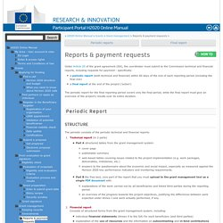 Reports & payment requests - H2020 Online Manual