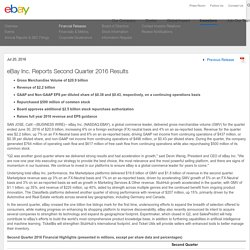 eBay Inc. Reports Second Quarter 2016 Results - eBay Inc.