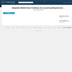 Adaptable Mobile User Interfaces for e-Learning Repositories