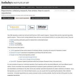 How to search repositories - Repositories: scholarly research, free online - LibGuides at Sotheby's Institute of Art