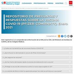 REPOSITORIO DE PREGUNTAS Y RESPUESTAS SOBRE LA VACUNA COVID-19 (PFIZER: COMIRNATY). Enero 2021