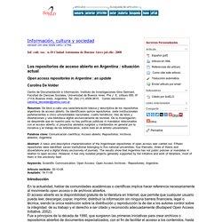 Los repositorios de acceso abierto en Argentina: situación actual