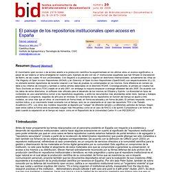 El paisaje de los repositorios institucionales open access en España